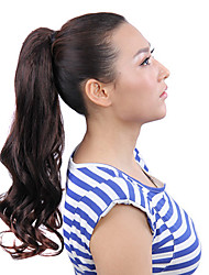 Ribbon Tied Chestnut Brown Long Curly Ponytail Hair Extensions Chestnut Brown Horsetail Ponytail Curly Hairpiece