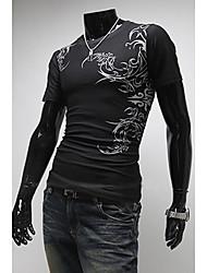 Homens FCW Collar algodão manga curta Imprimir camiseta (Black)