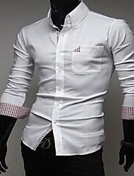 Masculino padrão de verificação Enfeite Magro shirt