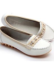 Cuero genuino de las mujeres BYX Ronda Casual Shoes enfermera Piso (Blanco)