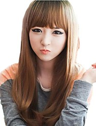 Fashion Hair Long Straight Synthetic Full Bang Wigs Light Brown