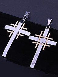 Personalized Gift   Stainless Steel   Cross   Engraved Pendant Necklace Men's Jewelry (Within 10 Characters)