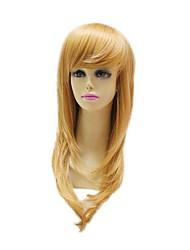 Capless Heat-resistant Fiber Long Light Golden Straight Full Wigs