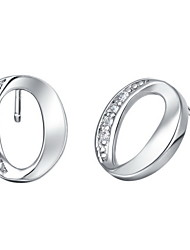 Stylish Silver Plated Silver With Cubic Zirconia Oval Cut Women's Earring