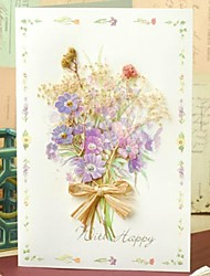 Side-fold Greeding Card with Lilac Flower and Rhinestone for Mother's Day