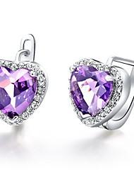 Сладкий Посеребренная серебро с кубического циркония Heart женского сережкой (больше цветов)