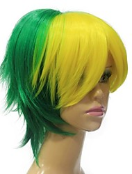 Capless Hight Quailty Green Yellow Mixed Short Synthetic Hair Wig