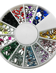 12-Color Mixed Style Nail Art Glitter Acrylic Rhinestone Decorations