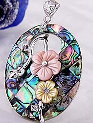 Ovale Bloemen Metal Paua Abalone Shell hanger