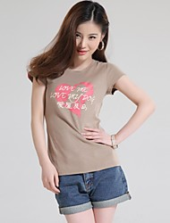 Women's Chinese Characters Short Sleeves T-Shirt [Love me Love my Dog]