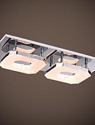 16W Led Acrylic Flush Mount, 2 light, Modern Acrylic Electroplating Stainless Steel