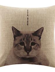 Modern Melancholy Cat Pattern Decorative Pillow Cover