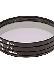 CPL + UV + FLD Filter Set for Camera with Filter Bag (62mm)