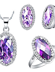 Oval Multicolor Cubic Zirconia (Necklaces&Earrings&Rings) Gemstone Jewelry Sets