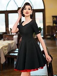 TS VINTAGE Контрастность Цвет шнурка Свинг платье