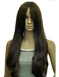 Long Curly Wave Distribution Type Bang Synthetic Wigs Heat Resistant