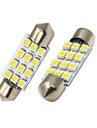 Merdia 39MM 60LM 1.8W 12x3528SMD LED blanche de plaque d'immatriculation / Instrument lampe (2 PCS/12V)
