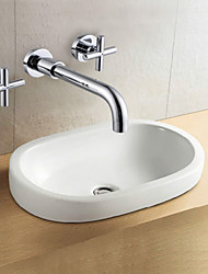 Wall Mounted Two Handles Two Holes in Chrome Bathroom Sink Faucet