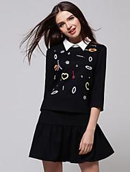 HYYB dulce impresión vestido de dos piezas (Negro)