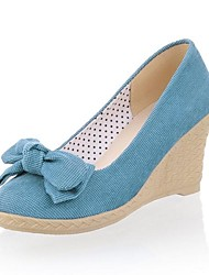 Beflockung Frauen Keilabsatz Wedges Pumps / High Heels mit bowknot Schuhe (weitere Farben)