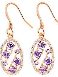 Mode plaqué or ou argent avec boucles d'oreilles Cubic Zirconia Violet Ovale femmes (plus de couleurs)