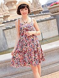 Women's Strap Pleated Dress , Chiffon Above Knee Sleeveless