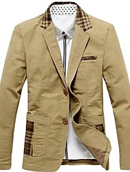 Men's Casual/Daily Work Jacket,Plaid Long Sleeve Regular Cotton