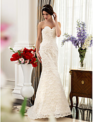 Trumpet/Mermaid Maternity Wedding Dress - Ivory Sweep/Brush Train Sweetheart Satin/Lace