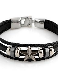 star de la mode 22cm cuir noir unisexe en argent bracelet en cuir d'alliage (1 pc) bijoux