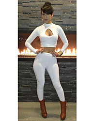 Topro Pre Sale Women New Fashion Sexy Long Sleeve Bodycon Club Party Bandage Jumpsuits KM012(White)