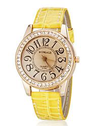 caso de diamante das mulheres relógio de pulso de quartzo banda pu (cores sortidas)