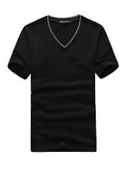 Herrenmode V-Neck-Shirt Solid Color
