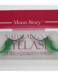 1 Par Pro pestañas falsas de la alta calidad hecha a mano del color verde de la pluma