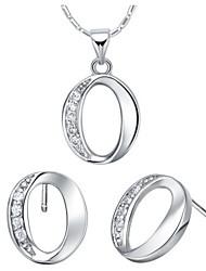 """Argent Silver plaqué délicate avec Zircon """"0"""" Jewelry Set de femmes (y compris le collier, boucles d'oreilles)"""