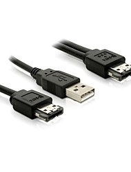 5v ESATAp Power ESATA USB 2.0 Combo Plug to ESATA 7Pin & USB A Type Hard Disk Drive Cable 100cm