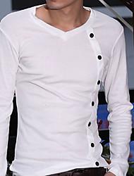 Gabiers Herren Spring New Thin V-Ausschnitt T-Shirt (weiß)