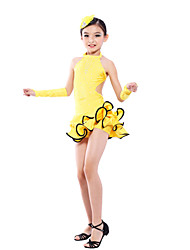 Dancewear Kids' Latin Dance Spandex Rhinestones Backless Ruffle Dress