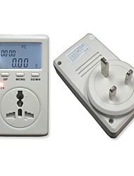 UK Plug Monofásico de Energia Watt Volt Amp Energy Meter Analyzer com Fator de Potência