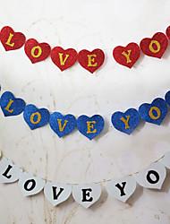 """Eu te amo"" glisten esponja bandeira do casamento de papel do vintage - conjunto de 8 peças (mais cores, corda 2m incluídas)"