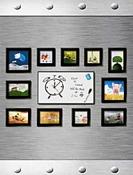 Black Photo Frame Collection Set of 11 with a DIY Leave a Message Clock