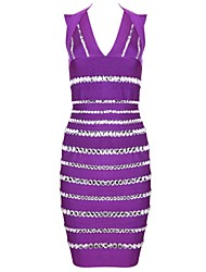 Women's Formal Sexy Bodycon Dress,Striped Deep V Knee-length Sleeveless Purple Rayon / Spandex All Seasons