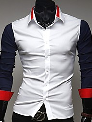 Herrenhandsome Kontrast Farbe Casual Shirts