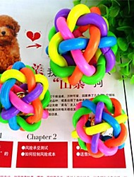 New  Large Colorful Twisted Rainbow Belt Toy Ball with Bell for Pets
