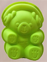 Lovely Cartoon Musical Bear Shape Cake Baking Moulds, Silicone Material, Random Color
