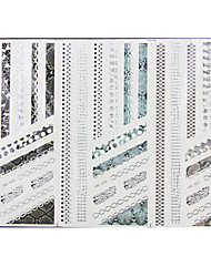 1PCS 3-Styles 3D Silver Hot Stamping Nail Art Stickers