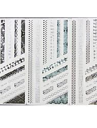 1PCS 3-Styles 3D Silver Hot Stamping Pegatinas Nail Art