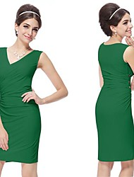Women's Sexy Solid Sheath Dress , V Neck Above Knee Polyester