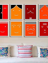 Poker Face  Framed Canvas Print Set of  8