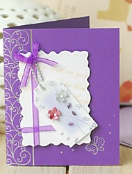 Lavender Side Fold Greeting Card with Bow and Flower for Mother's Day