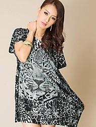 Europäische und amerikanische Art-Young Ladies Leopard-Druck-Kleid Rhinestone-Kristall Baumwolle (Schneiderei Random)